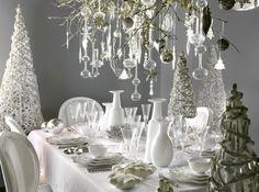 décoration de table de Noël blanche