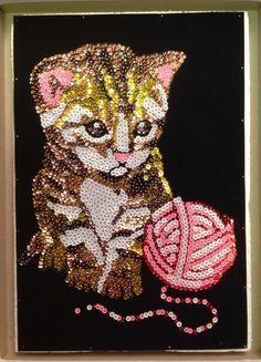 Sequin Art kitten with wool