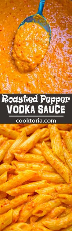 Creamy flavorful and oh-so-rich this Roasted Pepper Vodka Sauce canould be used with pasta seafood orand chicken dishes. Sauce Recipes, Seafood Recipes, Pasta Recipes, Chicken Recipes, Dinner Recipes, Cooking Recipes, Ark Recipes, Hamburger Recipes, Flour Recipes