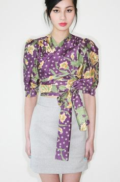 reduced was 290 now 185 divine vintage 1970s YVES SAINT LAURENT floral print silk wrap blouse w/puffed sleeves