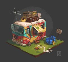 ArtStation - The Camp of the Hippies, Egor Belavsky Environment Concept, Environment Design, Prop Design, Game Design, Isometric Art, Hippie Art, Visual Development, Environmental Art, Game Concept