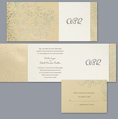 A luxurious, champagne shimmer jacket features an elaborate flourish design in gold foil. The jacket creates a stunning encasement for your smooth ecru #wedding #invitation with a monogram printed to the right of your wording. Invitations by David's Bridal Style DBN1676: http://bit.ly/HfZoA4