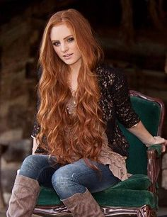 long flowing red hair