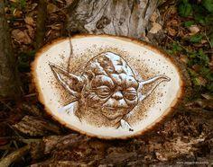 Woodburning of Yoda