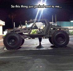 It's like batman met jeep met zombies! Cool Trucks, Big Trucks, Cool Cars, Hors Route, Monster Trucks, Bug Out Vehicle, Zombie Vehicle, Buggy, Jeep Truck
