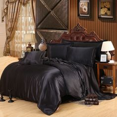 44.11$ Buy here - Custom-made Black Luxury Bedding Sets Solid Silk Satin 4 Pcs Queen/King Size Home Bedclothes Bed Linen Duvet Cover Set Bed Sheet #buyonlinewebsite