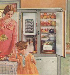 Vintage color illustration, Frigidaire, c. 1930.