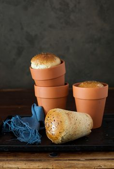 Garlic Bread with Fresh Herbs Baked in Flower Pots at Cooking Melangery