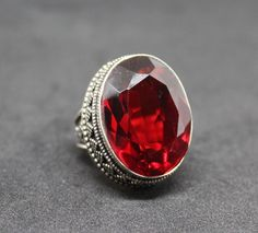 Large Red Glass Silver Plated 925 Ring - Size 8.5 - Needs Cleaning #VintageDesign
