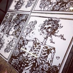 Today we printed enamel #ink to act as a chemical resist. This is a #reflection print for a high end glass piece project. We will release more info upon approval. Always love testing new boundaries. #research #development #screenprint #superiorink #denver