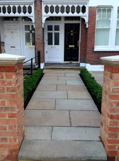 Imperial red brick London wall stone pier caps sandstone paving and formal topiary classic front garden Balham (3)