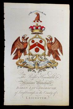 Coat of arms of Alexander Wedderburn (1733-1805), 1st Baron Loughborough of Loughborough (GB 1780), later 1st Earl of Rosslyn (UK 1801), Joseph Edmondson's Baronagium Genealogium, London, 1764-1784.