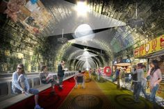 New London Underground plan from NBBJ consists of moving walkway London Transport, Public Transport, Moving Walkway, London Underground Train, Tube Train, Alpine Village, Innovative Architecture, New London, Space Travel