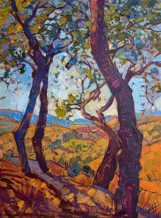 California Oaks, original oil painting on board by impressionist artist Erin Hanson