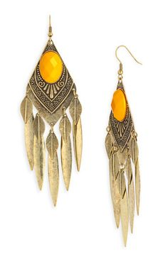 Carole Feather & Facet Antique Brass Statement Earrings