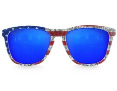 Take the Star Spangled Banner with you everywhere you go and show how much you love America with our American flag frame sunglasses and a cool mirrored blue lens.