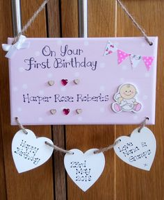 Personalised On Your First Birthday Gift Plaque, 1st Birthday, Happy Birthday, Baby, Son, Daughter, Grandchild, Keepsake Gift, Custom Sign
