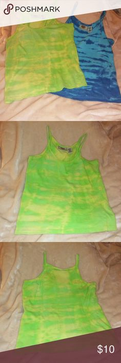 2 Juniors tie dye tank tops One blue and one green tie dye tank tops, size Medium, by Route 66, 100% cotton, excellent condition, very comfy, no flaws. Route 66 Tops Tank Tops