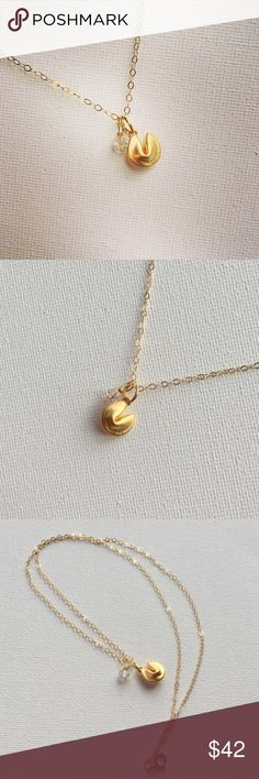 """Golden Fortune Cookie Necklace Just about the cutest thing I've seen - a tiny golden fortune cookie with a tiny Swarovski iridescent (AB) coated clear bicone crystal charm. The cookie is approx. 1 cm diameter. The cookie is 16k gold plated with a matte finish and the 18"""" chain is 14k gold filled. New, no tags. Available for special order in Sterling silver. Jewelry Necklaces"""