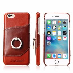 Hot for iphone 6 6s Natural Genuine Leather Oil Wax Cow Skin cowhide Phone Cover case for iphone6 plus With Finger Ring Stand #Affiliate