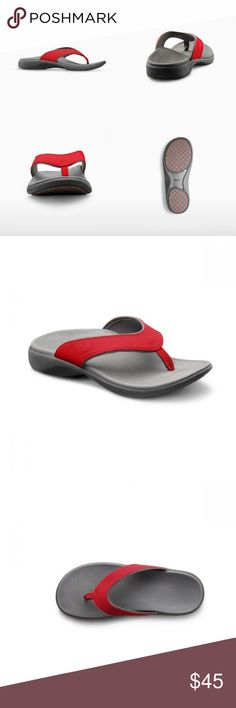 Dr. Comfort Shannon Orthotic Support Sandal Built in biomechanics for the barefoot enthusiast! The Shannon women's flip-flops feature a dual density midsole, integrated post & shank and comfort cushioned foot bed, with true arch support. Once you try the Shannon Ortho Sandals, you'll never want to wear ordinary flat flip-flops again! Available Colors: Red, Black and Camel. (Last Picture) ADDITIONAL SIZES ARE AVAILABLE UPON REQUEST Fits Medium and Wide Widths If you are a half size- it is… Supportive Sandals, Arch Support Shoes, Shoes Sandals, Flats, Knee Brace, Womens Flip Flops, Beautiful Shoes, Comfortable Shoes, Fashion Tips