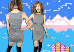 90s Grey and Silver Metallic Plaid Mini Dress by badatpettingcats