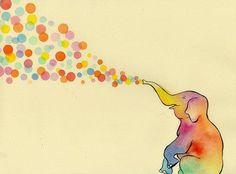 rainbow elephant blowing bubbles? yup!