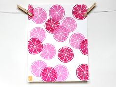 """GRAPEFRUITS"" Pattern Fruit Linocut Art Print 11x14""  Linoprint, linoleum, print, printmaking, stamp, ink, grapefruit Linoprint, Illustration, Line Art, Linocut, Art, Prints"