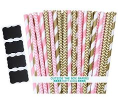 "Outside the Box Papers Gold and Pink Stripe and Chevron Paper Straw Combo-Birthday, Baby Shower Wedding Supply 100% Biodegradable 7.75"" Pack of 100 Plus 4 Chalkboard Labels"
