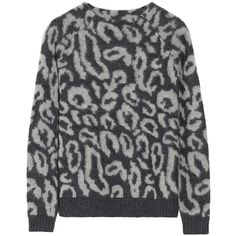 By Malene Birger Fensia leopard-print knitted sweater (16800 RSD) ❤ liked on Polyvore featuring tops, sweaters, sweathers, grey, grey top, knit sweater, gray knit sweater, loose fit tops y loose sweater
