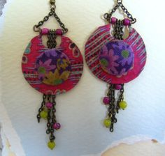 Calico+Nouveau++Fabric+Earrings+by+CoCoJoJoOriginals+on+Etsy,+$29.00