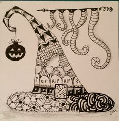 Zentangle Tile | Joey's Weekly Tangle Challenge 31 | Witch's Hat by Caroline Moore