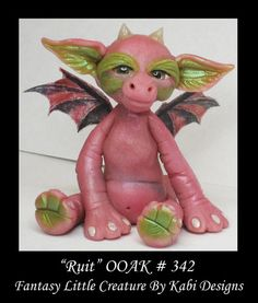 Art Doll Polymer Clay Fantasy Miniature DollHouse Fairy Dragon
