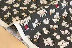 Japanese Fabric Yuwa Christmas kittens  charcoal  by MissMatatabi