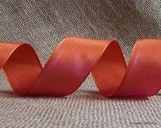 "Persimmon Wired Ribbon, 1 1/2"" wide, Orange / Pink / Purple Charisma."