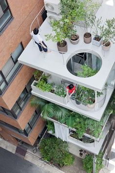 """Tokyo Garden and House"": An infill between two larger buildings, this 5-story townhouse lets light into the 4 meter-wide site by employing glass walls throughout. Gardens (and curtains) for each room help screen the homeowners from the neighbors, while also providing green relief to an otherwise sterile commercial street.  