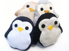 Cute Handmade and Handsewn Felt Kawaii Penguin Plush Felt Animal Pillow or Gift, Original Design, Availible in Black, Gray, Tan, and Navy