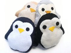 Cute Handmade and Handsewn Felt Kawaii Penguin Plush Felt Animal Pillow or Gift, Original Design, Availible in Black, Gray, Tan, and Navy
