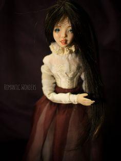 ''Lady'' handmade Ooak doll by Romantic Wonders Ooak Dolls, Cotton Dresses, Bodice, Wigs, Romantic, Disney Princess, Disney Characters, Lady, Handmade