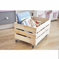 Купить Ящик реечный на колесиках - деревянные заготовки, ящик, хранение игрушек, интерьерное украшение, хандмейд