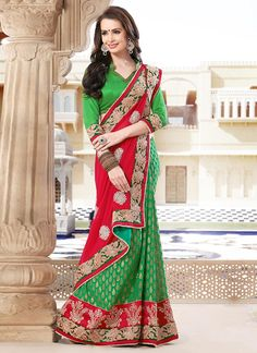 Charismatic Green and Red Half N Half #Saree