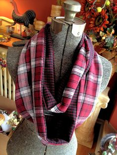 buy flannel pajama pants from garage sale or Goodwill and repurposing them into infinity scarves!