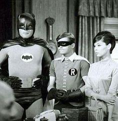 Batman, Robin and Barbara Gordon from the classic Batman television series. Real Batman, Batman Tv Show, Batman Tv Series, Batman And Superman, Batman Robin, Dc Comic Books, Comic Book Characters, Adam West Batman, Superhero Bathroom