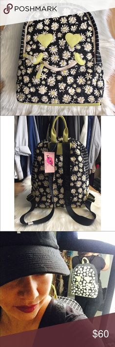 """Betsey Johnson floral full size backpack. Betsey Johnson black white yellow floral happy face smiley face full size backpack. Brand-new with tags featuring floral pattern. Measures 13""""x15 and 1/2"""", soft material and the Bottom and heart shaped eyes are leather-like material Betsey Johnson Bags Backpacks"""