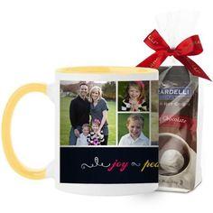 Joy Peace Love Family Mug, Yellow, with Ghirardelli Premium Hot Cocoa, 11 oz, Black
