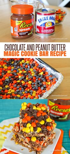 Magic cookie bars made with Reese's Chocolate Peanut Butter Spread and Reese's Pieces?  I think I'm in love!  Amazing!