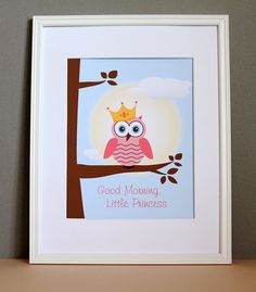 Owl Princess Pink Nursery Art Good Morning by HopSkipJumpPaper, $20.00