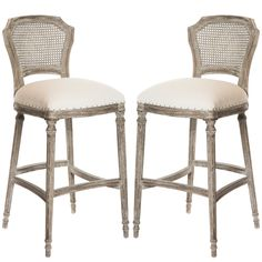 Dreamy Weathered Provence Counter Stools Grey Wash Cane