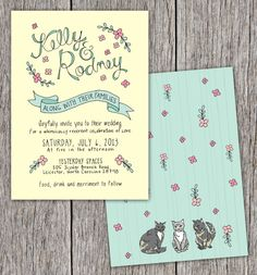 Fully Custom Illustrated Wedding Invitations Set