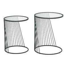 Contemporary Nesting Tables - Shine | RC Willey Furniture Store Large Table, Small Tables, Table Furniture, Modern Furniture, Nesting End Tables, Steel Table, Black Glass, Black Metal, Clear Glass